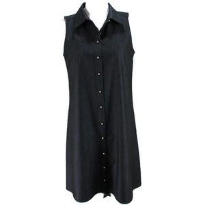 Calvin Klein Sleeveless Shirt Dress Button Front